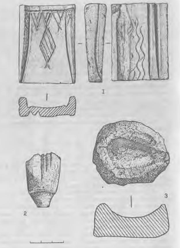 Рис. 5. Керамические (1,3) и каменное (2) изделия из погребения литейщика.