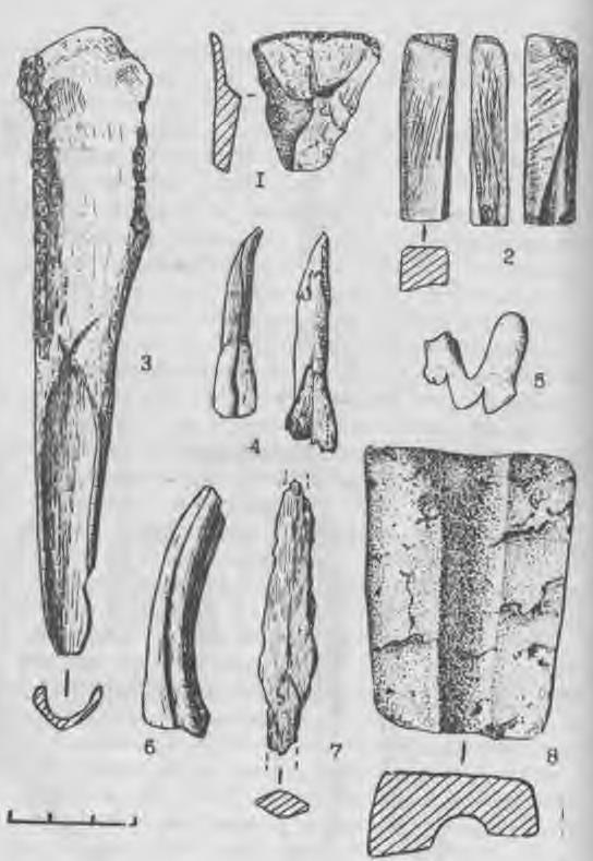 Рис. 7. Инвентарь из погребения литейщика могильника Сопка-2