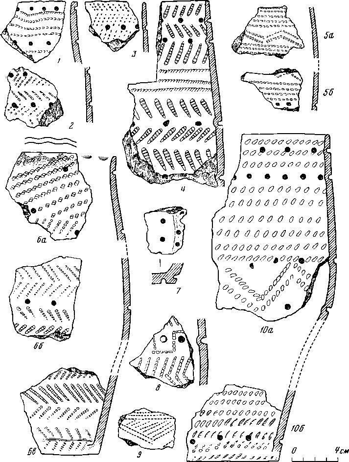 Рис. 2. Гребенчато-ямочная посуда бронзового века (1—10)
