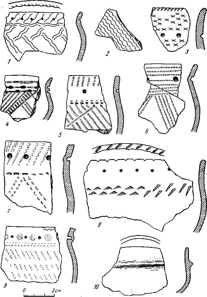 Рис. 3. Поздний керамический комплекс поселения Ипкуль VIII (1—10)
