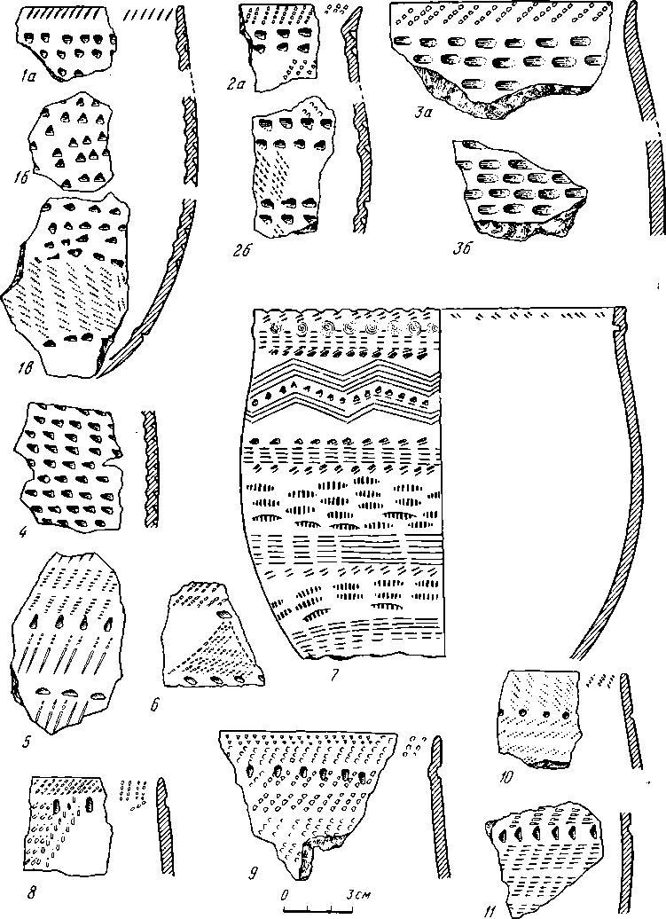 Рис. 1. Ямочно-гребенчатая керамика энеолитической эпохи (1—11)