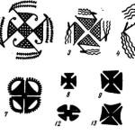 Рис. 7. Мотив креста в расписной керамике древнего Востока. 1 — Геоксюр 2; 2 — Самарра; 3, 4 — Багуз; 5, 9, 10, 12 — Тали-Бакун; 6—8 — Мусиян; 11, 15 — Тепе-Гиян; 13, 14 — Сузы.