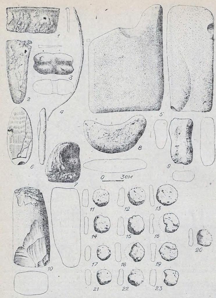 Рис. 64. Инвентарь ирменского времени. Памятник Каргат-6. 1,2,4 — бронза; 5—7, 10 — камень: остальное — глина.