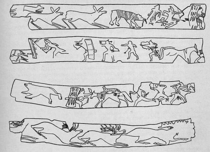 Деревянные планки с изображениями из могильника Тепсей III