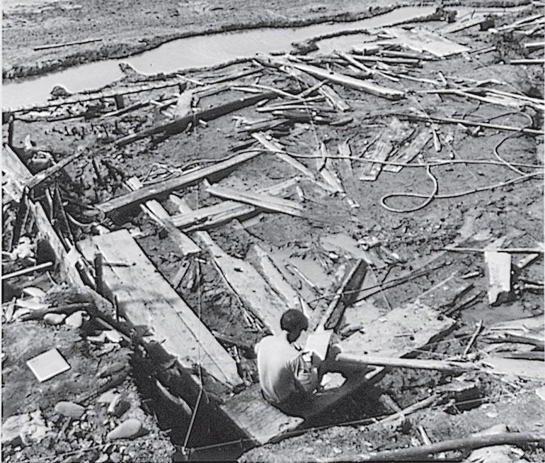 Рис. 4.4. Озетт, штат Вашингтон. Раскопы стен, скамей для сна и доски доисторического дома, появившиеся при сходе грязевого потока. При затоплении превосходно сохранились дерево и волокна