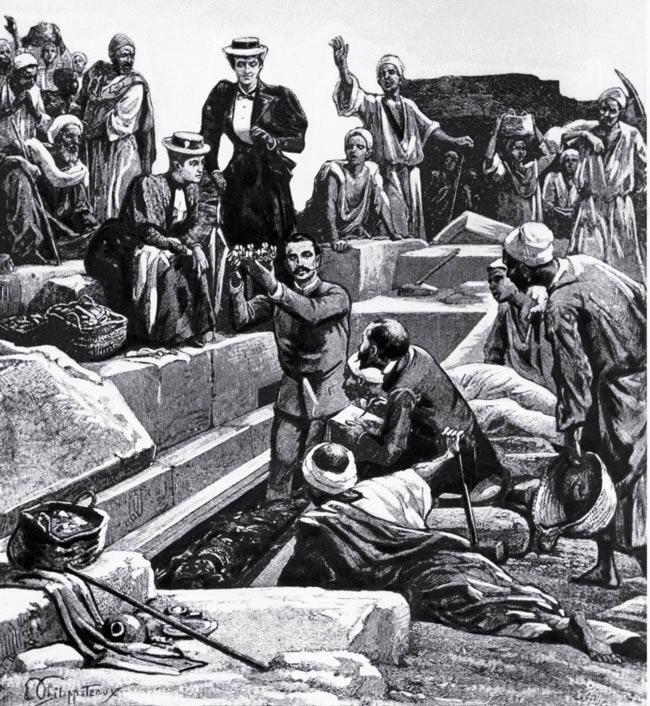 Раскопки викторианской эпохи — самые впечатляющие и в то же время ненаучные. М. Де Морган поднимает золотую корону мумии королевы Хнемит в Дахшуре, Египет, 1896