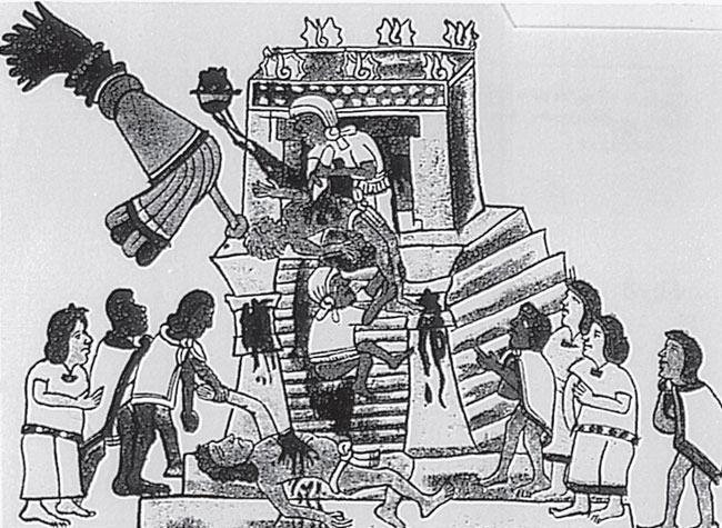 Рис. 6.1. Индейцы-ацтеки в Мексике ежегодно приносили в жертву богу Солнца Хутципочтли сотни человеческих жизней, веря в то, что кровь человеческих сердец будет питать Солнце в его пути по небу. Эта вера являлась частью общей культуры того общества, даже если такие жертвоприношения были совершенно чужды другим сообществам