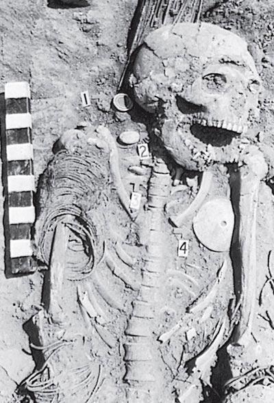Рис. 6.4. Пример археологических связей: захоронение в Ингомб Илед в Среднезамбийской долине, в Замбии, Центральная Африка, относящееся приблизительно к XV веку до н. э. Раковины моллюска «конус» для ношения на шее принесли сюда с побережья Индийского океана в 965 километрах отсюда, и они были очень престижной вещью