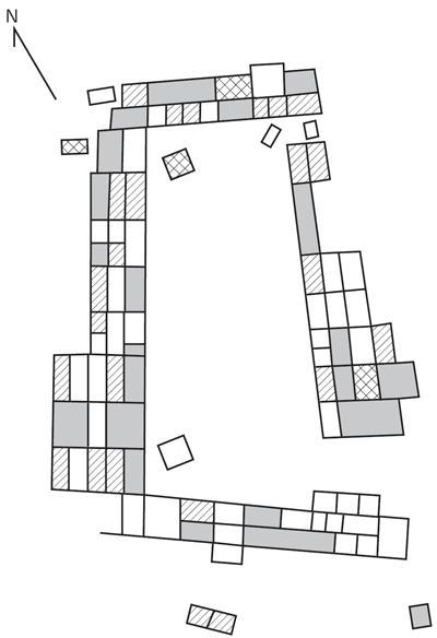 Рис. 3.5. Различные типы комнат в Броукен Кей Пуэбло. Закрашенные области представляют «большие комнаты»; заштрихованные — «маленькие», заштрихованные крестиком — «специальные комнаты». Пустые области не раскапывались. Джеймс Хилл выдвинул ряд проверяемых гипотез в отношении типов артефактов, которые могут быть найдены в разных комнатах