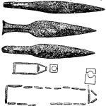 Рис. 96. Кремневые кинжалы (Дания) (1/3) и каменные ящики с входным отверстием (Швеция) типа IV периода по Монтелиусу.