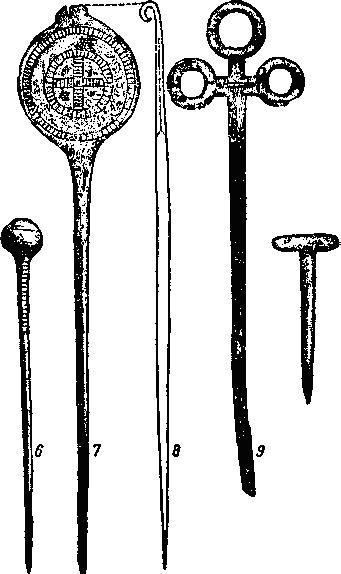 Рис. 59. Булавки с шарообразной, дисковидной, трехлопастной и костылевидной головками из поздиеунетицких погребений. По Шранилю.