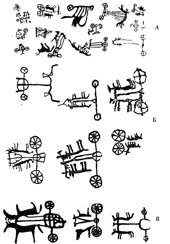 Петроглифы с изображениями колесниц: на Алтае (А), в Туве (Б) и в Казахстане (В)