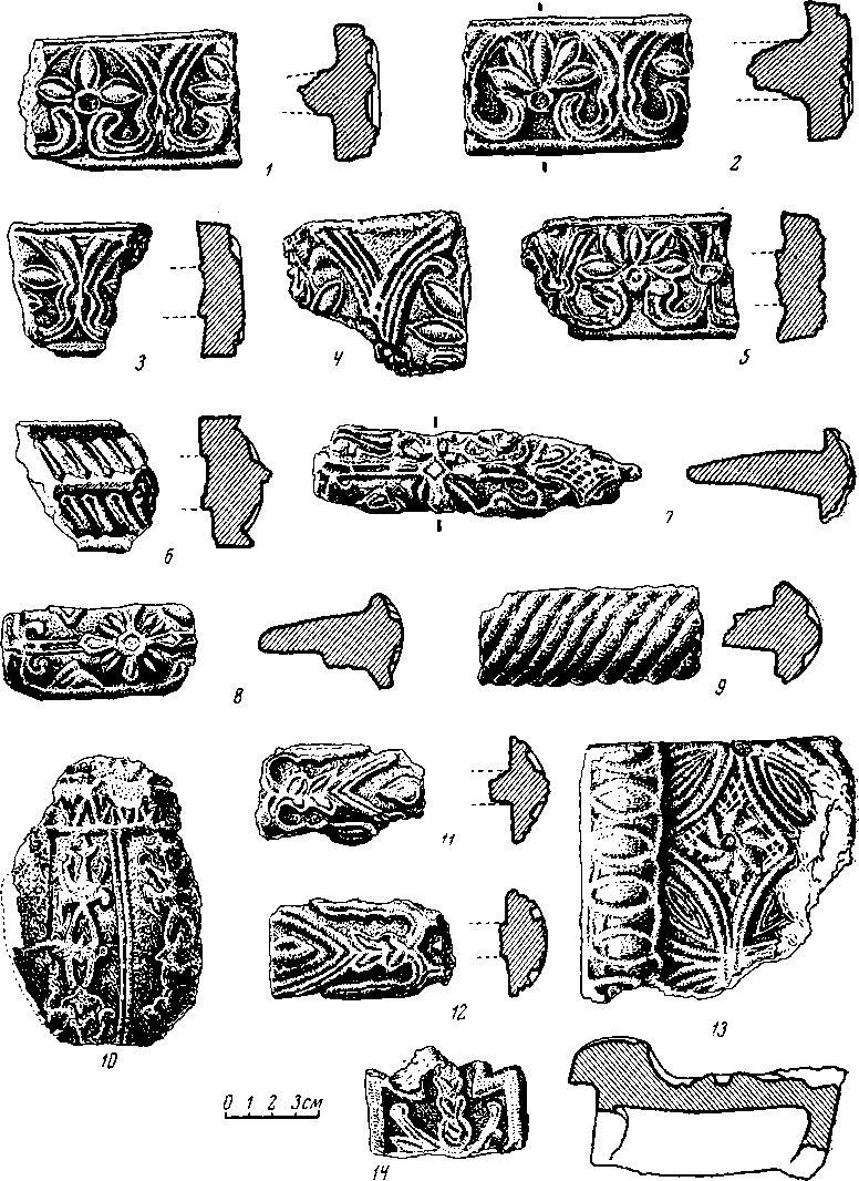 Рис. 6. Красные изразцы из древних Холмогор