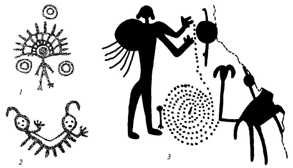 Рис. 13. Наскальные изображения Северной Америки 1,2- росписи плато Колумбия, 3 - петроглифы Косо Рейпдж, юго-запад США