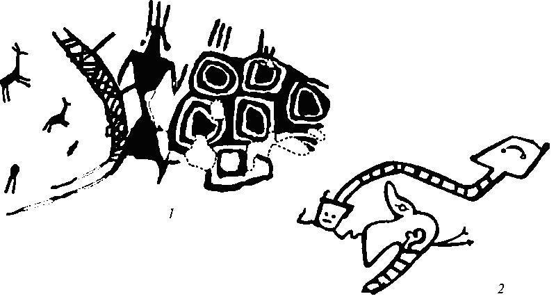 Рис. 14. Наскальные изображения Южной Америки I - выполненные белым пигментом росписи из района Потоси, Боливия; 2 - Пампа-дель-Касгильо, Перу
