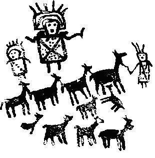 Рис. 3. Росписи черным из Куэва-дель-Дьябло, бассейн Дель-Рио-Саладо, север Чили
