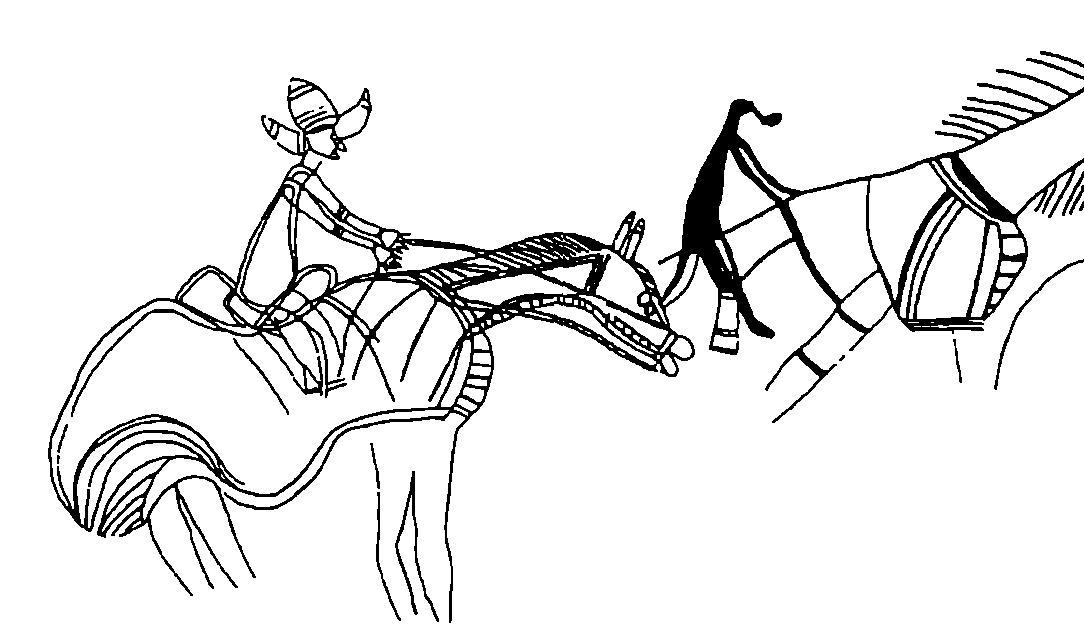 Рис. 9. Полихромные изображения исторического периода. Арнхемленд, Австралия. Сцена преследования буйвола всадником-аборигеном, курящим трубку, и европейцем в широкополой шляпе выполнена почти в натуральную величину