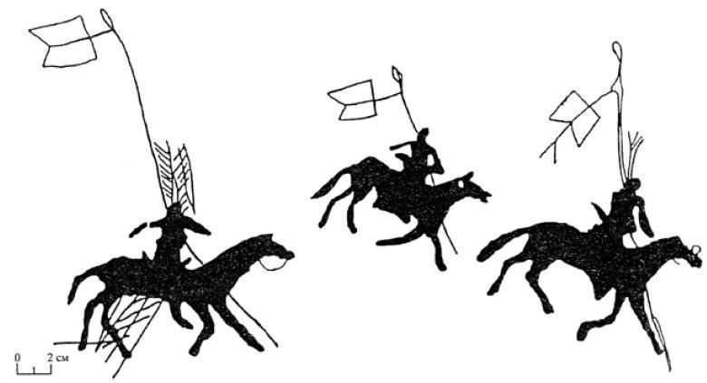 Рис. 5.23. Наскальный рисунки и рунические надписи Рис. 5.21. Наскальный изображения древнетюркских всадников.