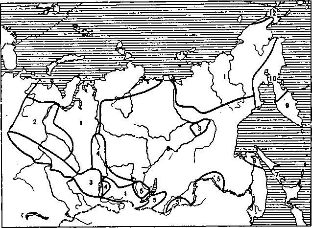 Этническая карта Сибири в XVII в. (см.: Долгих Б. О. Народы Сибири. М.; Л-M 1956, с. 12—13. Генерализовано и с небольшими изменениями). 1 — самоедолэычные народы; 2 — угроязычные народы; 3 — тюркояэычные народы; 4 — кето-язычные народы; 5 — монголоязычные народы; 6 — тунгусоязычяые народы; 7 — айны; 8 — ливхи; а — ительмены; 10 — коряки; 11 — юкагиры и родственные народы; 12 — асхимосы