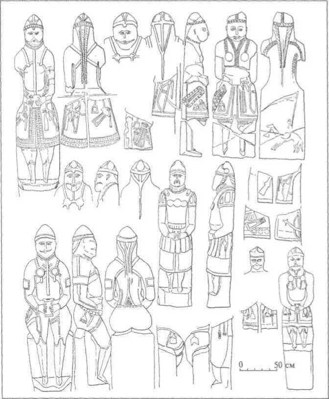 Рис. 26. Кам'яні скульптури воїнів-кочівників (за С. О. Плетньовою)