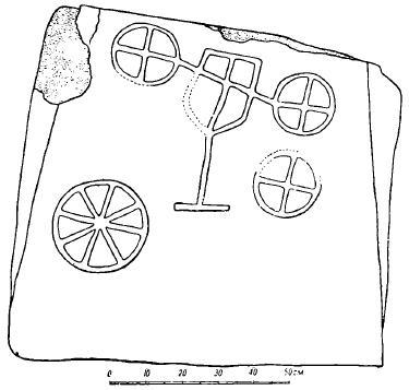 Рис. 12. Могильник у сел. Берекей. Изображение на стенке каменного ящика.