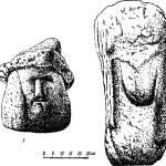 """Рис. 77. Каменные идолы: 1 — идол с головным убором; 2 — идол """"Пестун""""."""