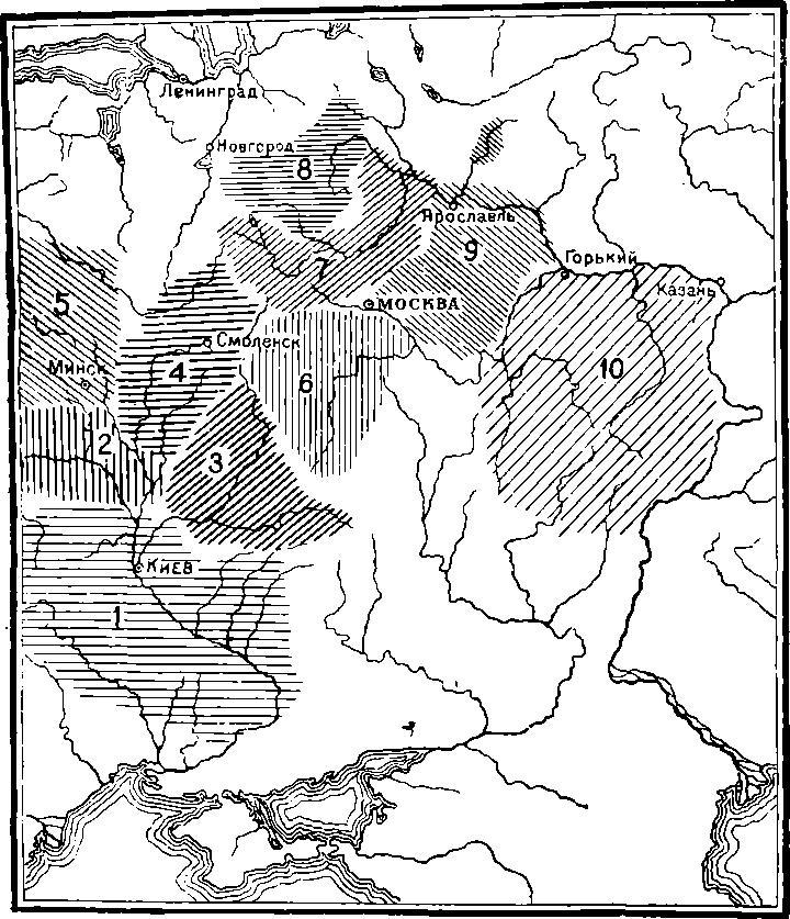 Рис. 1. Схематическая карта локальных групп археологических памятников начала вашей эры.