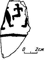 Рис. 1. Кара-депе. Черепок с изображением статуэтки и человеческих фигурок.