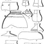 Рис. 46. Карабулак. Керамика из раскопок замка. 1—4 — миски; 5 — тонкостенный горшочек; 6—9 — небольшие корчаги; в — фрагмент горшка; 7—11 — сосуды для воды; 12, 13 — кухонные сосуды; 14 — жаровня
