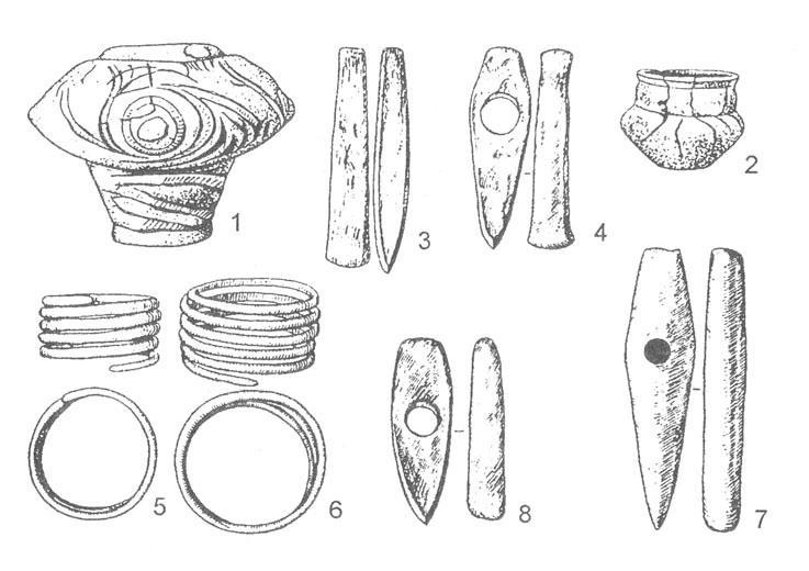 Рис. 21. Карбунский клад [Авдусин Д. А., 1989]. 1-2 - сосуды, в которых находились вещи; 3-4 - медные топоры; 5-6 - медные браслеты; 7 - топор из мрамора; 8 - топор из сланца.