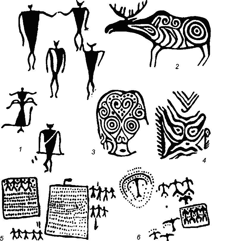 Рис. 69. Наскальные изображения оз. Байкал, нижнего Амура и Забайкалья  - Саган-Заба, оз. Байкал; 2-4 - Сакачи-Алян, нижний Амур; 5-6 - Хачурт и Баин-Хара, Забайкалье