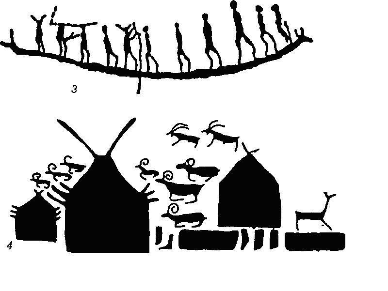 Рис. 71. Наскальные изображения среднего Енисея 1 - Ашпа; 2 - Пора-Тигей; 3 - Шалаболино; 4 — Большая Боярская писаница