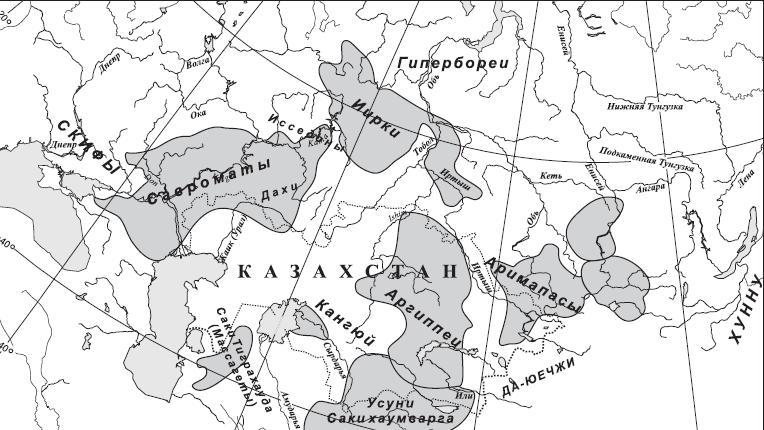 Рис. 4.1. Карта расселения сакских племен по территории Казахстана.