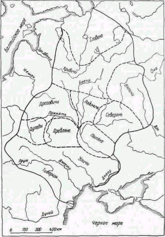 Карта расселения древнерусских племен.