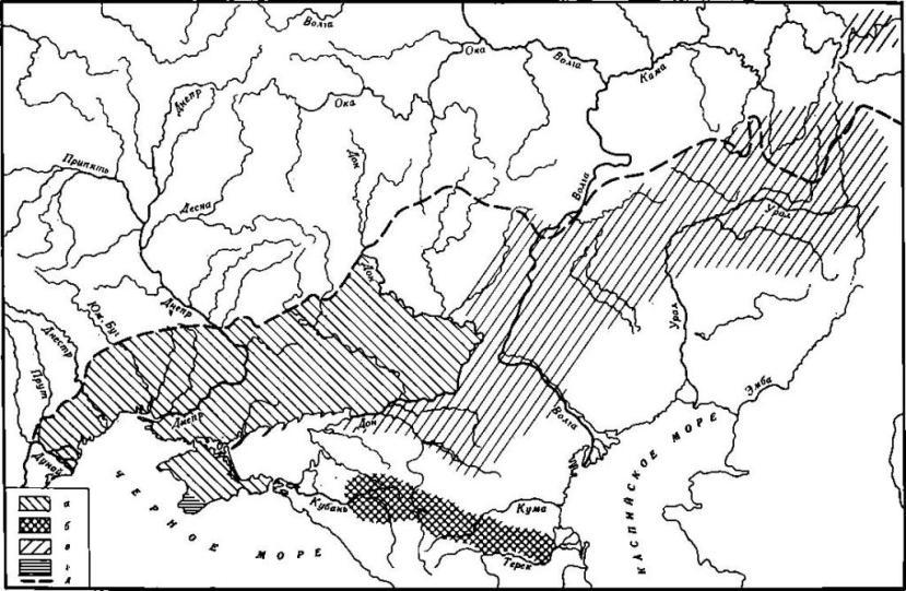 Карта 2. Ареалы скифских и сарматских культур III в. до н. э. — III в. н. э. а — скифы; б — сарматы; в — граница степи и лесостепи