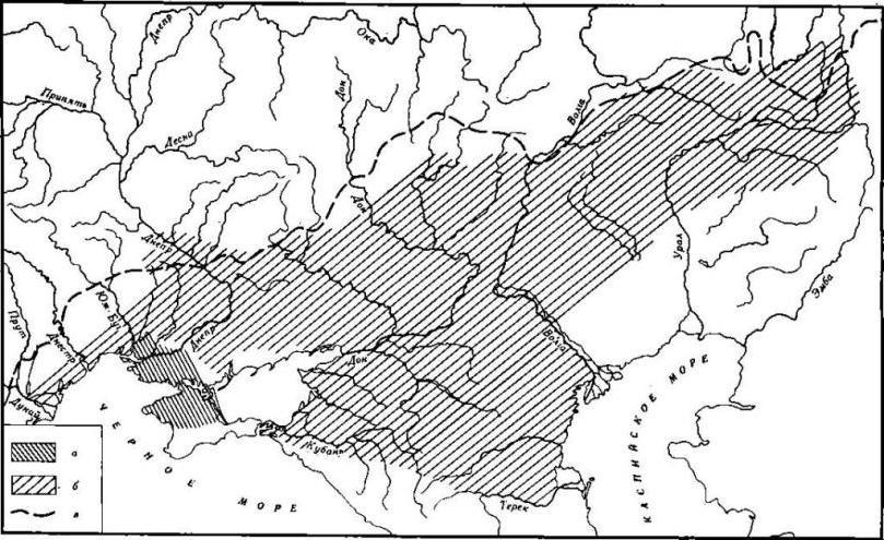 Карта 1. Ареалы скифских и сарматских степных культур в VII—III вв. до н. э. а — скифские племена; б — скифские племена Северного Капкана в VII—VI вв. до н. э.; в — сарматские племена; г — тавры; д — граница степи и лесостепи