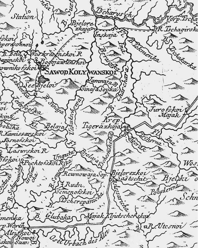 Рис. 1. Фрагмент типографской карты, опубликованной в книге П. С. Палласа 1773 г. Старо-Колыванская оборонительная линия показана пунктиром, новая Колывано-Кузнецкая пограничная линия — сплошной полосой