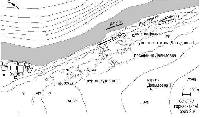 Рис 2. Фрагмент карты Советского района. Расположение археологических памятников