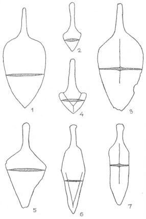 Рис. 64. Ножи, характерные для манычского (1-5) и донецкого (6-7) очагов металлообработки катакомбной культурно-исторической общности (составлено Е. И. Гаком).