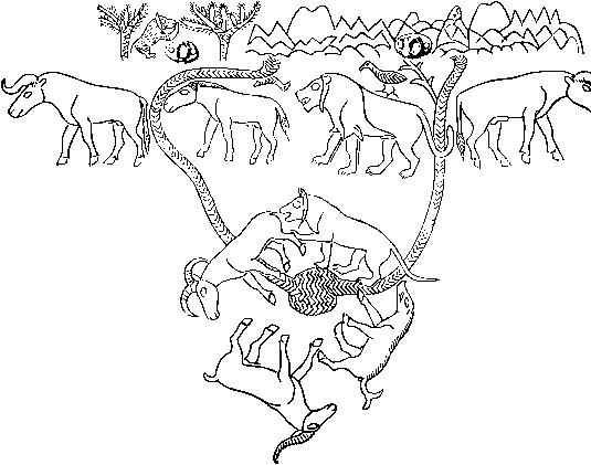 32. Рисунок на сосуде из Майкопского кургана.
