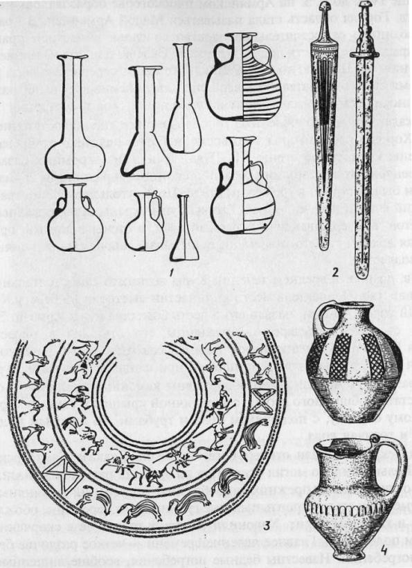 Закавказье I тыс. до н. э. - первых веков н. э.: 1 - сосуды из Иберии I-III вв. (по О.Л. Лордкипанидзе); 2 - мечи; 3 - рисунок на сосуде; 4 - сосуды