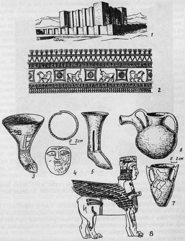 Археология Урарту: 1 - урартская крепость; 2 - фрагмент настенной росписи большого зала в Эребуни; 3-7 - сосуды и украшения; 8 - бронзовая позолоченная фигурка божества