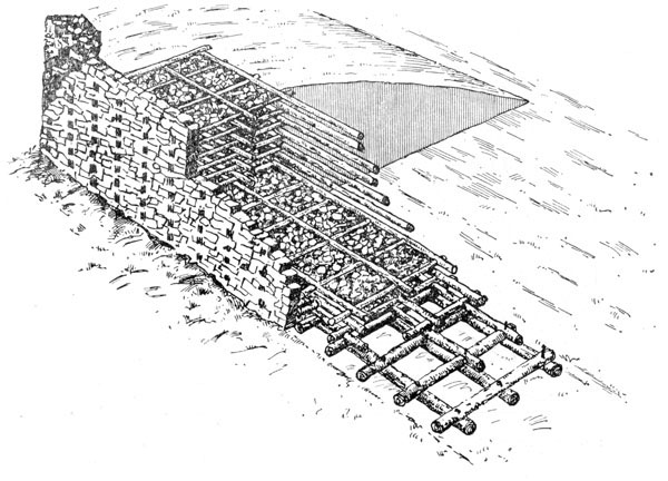 Рис. 35. Конструкция Кельтской крепостной стены (по Ж. Дешелетту)