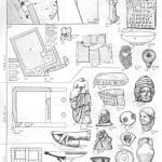 Таблица XLIV. Кепы I — план архаического дома; 2 — жертвенное блюдо; 3 — фрагмент расписного открытого сосуда VI в. до н. э.; 4 — ножка килика с граффито (нижняя плоскость, профиль); 5 — амфора VI в. до н. э.; в — клеймо кепской мастерской; 7 — мраморная жепская рука с рогом изобилия; 8 — терракота — мальчик с козлом; 9 — клеймо кепской мастерской, навершие крышки лекапы; 10 — план фундамента святилища II в. до н. 11 — мраморная статуэтка Афродиты; 12 — фрагмент ручки сосуда с изображением комической маски II—I вв. до н. э.; 13 — голова Куроса VI в. до н. э.; 14 — мраморный постамепт с посвящением Афродите; 15 — терракота — голова Афродиты I в. до н. э.— I в. н. э.; 16 — фрагмент мраморного жертвенного блюда с надписью; 17 — план терм I в. н. э. (а — фундаменты терм, б — мраморная облицовка, в—цемянковый пол, г — скамьи из цемянки); 18 — винодельня I в. н. э.; 19 — костяная пластина в виде головы Силена, аппликация мебели I в. до н. э.— I в. н. э.; 20 — светильник I в. н. э.; 21—красполаковая миска; 22 — игральная кость — астрагал; 23 — план городища и некрополя Коп: а — береговой обрыв; б — поселок с огородами; в — ямы; г—некрополь Кеп; 24 — светильник III—IV вв. н. э.; 25 — позднеантичное надгробие. Составитель О. Н. Усачева