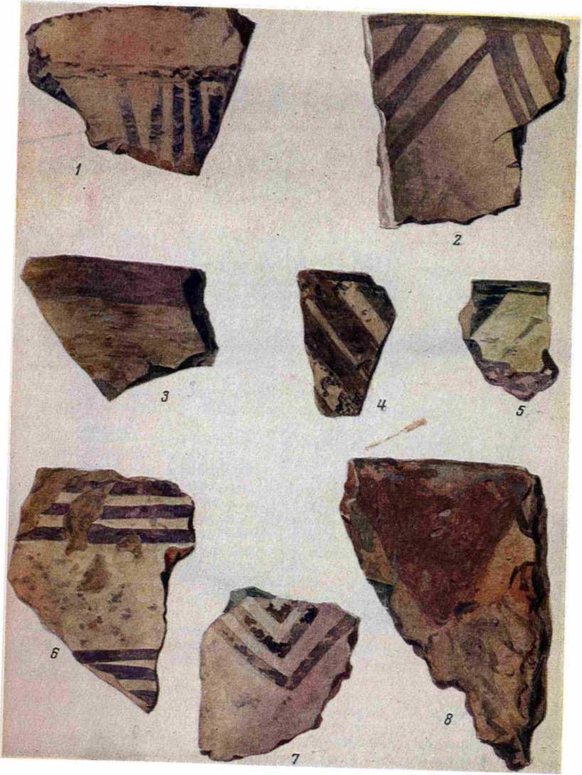Рис. 2. Расписная керамика из Мильской степи. 1, 3, 5—7 — из Кямил-тепе; 2 — у сухого русла Шапарты; 4 — из малого безымянного тепе; в — холм близ Кямил-тепе.
