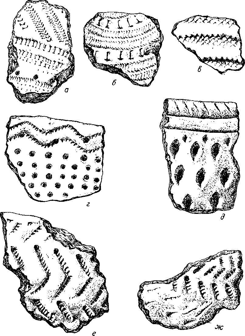 Рис. 6. а-в — керамика первой группы стоянок; г—д - керамика второй группы стоянок; е—ж — керамика третьей группы стоянок.