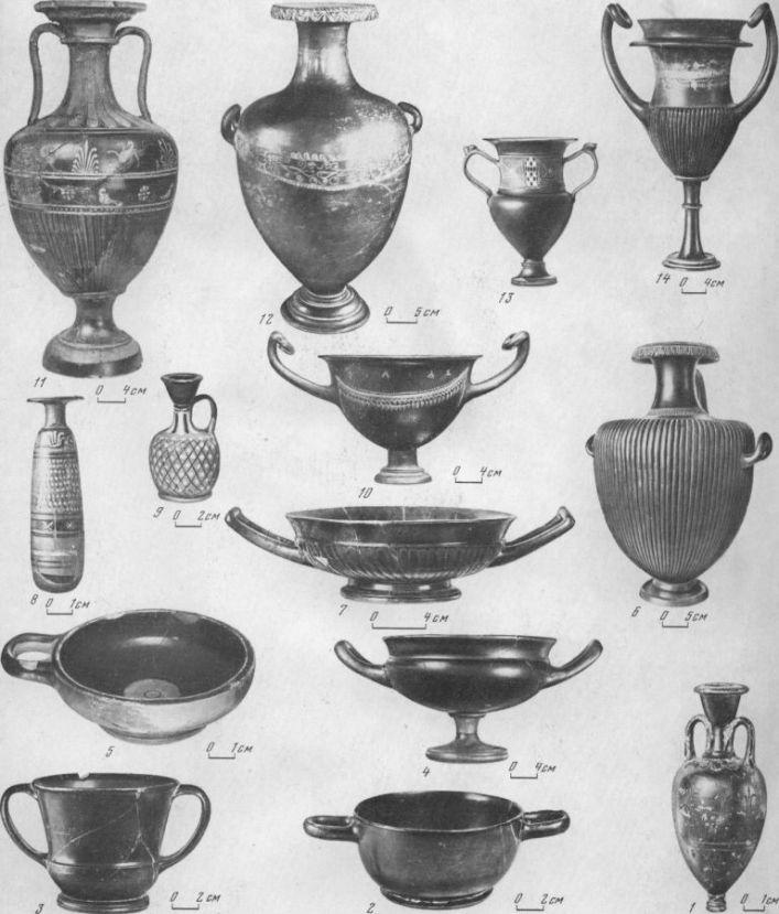 Таблица CXLIV. Чернолаковая и аттическая керамика 1 — амфориск со штампованным орнаментом, V в. до н. э. (Гермонасса); 2 — килик, вторая половина VI в. до н. э. (Гермонасса); 3 — канфар со штампованным орнаментом, середина V в. до н. э. (Гермонасса); 4 — килик, вторая четверть V в. до н. э. (Гермонасса); 5 — чашечка, вторая половина V в. до н. э. (Гермонасса); в — гидрия, IV в. до н. а. (курган Юз-Оба); 7 — килик, IV в. до н. э. (Гермонасса); 8 — алабастр, конец IV в. до н. э. (Пантикапей); 9 — арибаллический лекиф, первая четверть IV в. до н. э. (пос. Панское I); 10 — килик с посвятительной надписью «дружба», первая половина III в. до н. э. (Ольвия); 11 — амфора, первая половина III в. до н. э. (Ольвия); 12— гидрия, конец IV —первая половина III в. до н. э. (Херсонес); 13 — канфар, III—II вв. до н. э. (Ольвия); 14 — канфар, первая половина III в. до н. з. Составитель Е. Г. Кастанаян