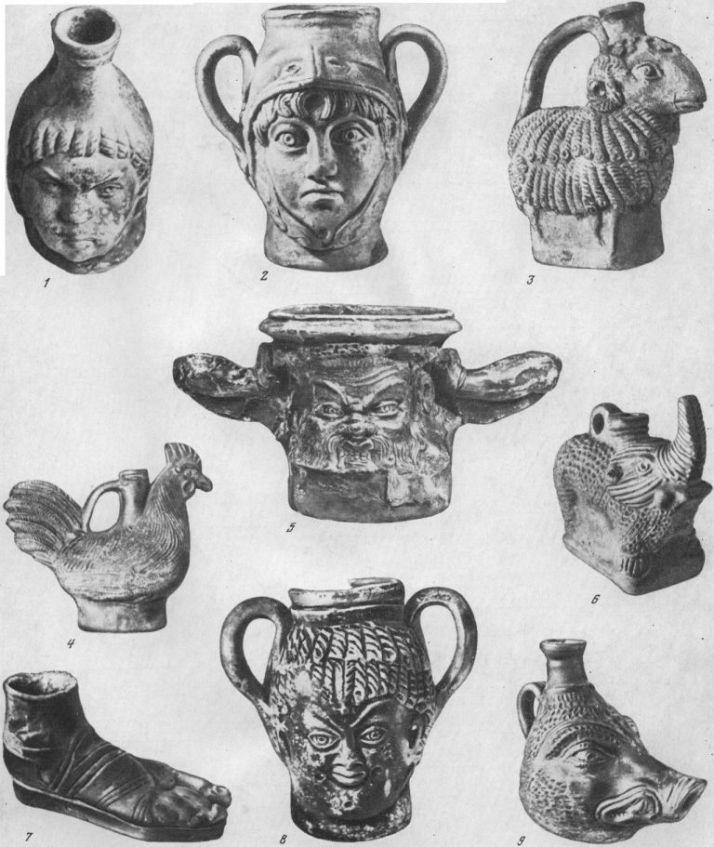 Таблица CXLVI. Фигурные сосуды I в. до н. э. — II в. н. э. 1, 6 — Пантикапей; 2—5, 7—9 — Ольвия. Составитель Т. М. Арсеньева