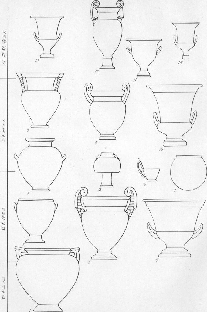 Таблица CXXXVI. Типы греческих сосудов 1—4, 8—14 — кратеры; 5 — стамнос; 6 — киаф; 7 — динос: 15 - псиктер. Составитель Е. Г. Кастанаян