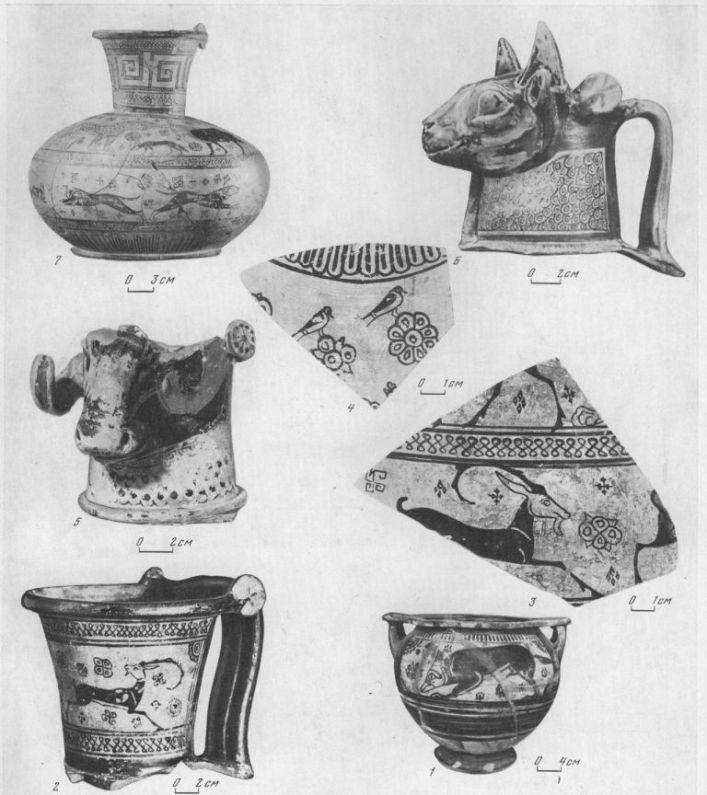 Таблица CXXXIX. Родосско-ионийская керамика  1 — келеба, последняя четверть VII в. до н. э., Березань;  2 — горло кувшина, вторая четверть VII в. до н. э., Болтыш-ка; 3,4 фрагменты стенок сосудов, конец VII в. до н. э., lie-мирово; 5 — горло кувшина, Самос, группа «Фикеллюра», вторая четверть V в. до н. э., курган близ с. Криворожье;  6 — горло кувшина, третья четверть VII в. до н. э. (из б. Хоперского округа); 7—кувшин, VII в. до н. э., Темир-гора. Составитель Е. Г. Кастанаян
